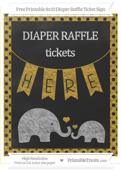 Free Goldenrod Polka Dot Chalk Style Elephant 8x10 Diaper Raffle Ticket Sign
