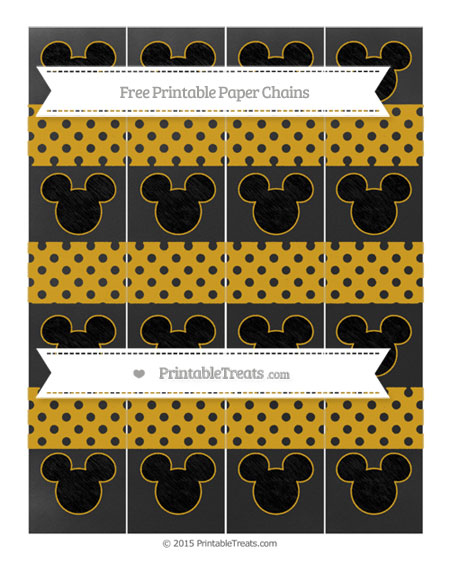 Free Goldenrod Polka Dot Chalk Style Mickey Mouse Paper Chains