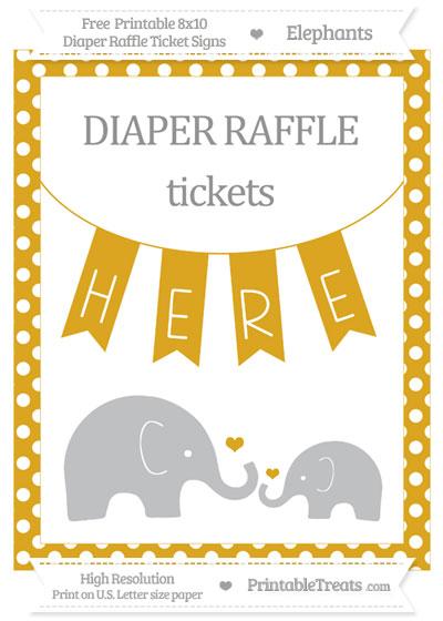 Free Goldenrod Polka Dot Elephant 8x10 Diaper Raffle Ticket Sign