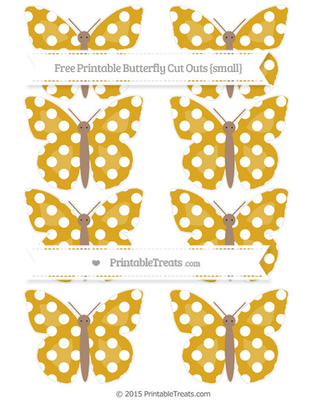 Free Goldenrod Polka Dot Small Butterfly Cut Outs