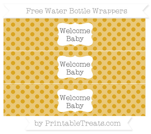 Free Goldenrod Polka Dot Welcome Baby Water Bottle Wrappers