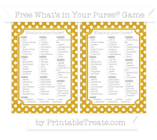 Free Goldenrod Polka Dot What's in Your Purse Baby Shower Game