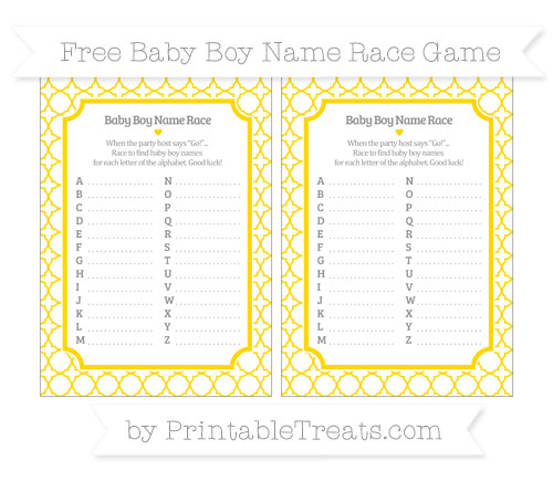 Free Goldenrod Quatrefoil Pattern Baby Boy Name Race Game