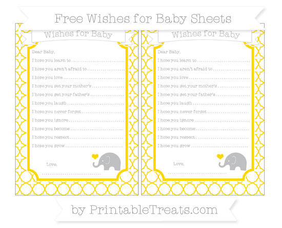 Free Goldenrod Quatrefoil Pattern Baby Elephant Wishes for Baby Sheets
