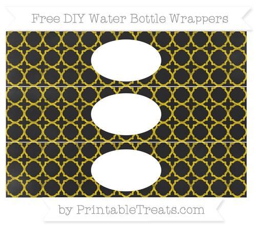 Free Goldenrod Quatrefoil Pattern Chalk Style DIY Water Bottle Wrappers