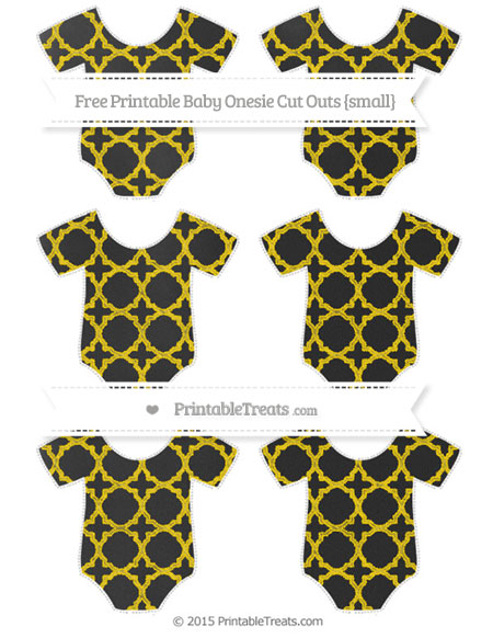 Free Goldenrod Quatrefoil Pattern Chalk Style Small Baby Onesie Cut Outs