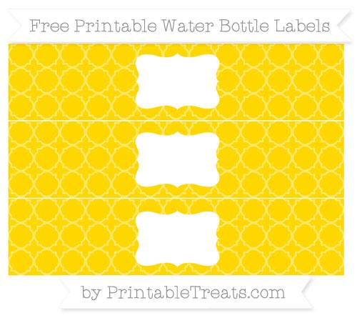 Free Goldenrod Quatrefoil Pattern Water Bottle Labels