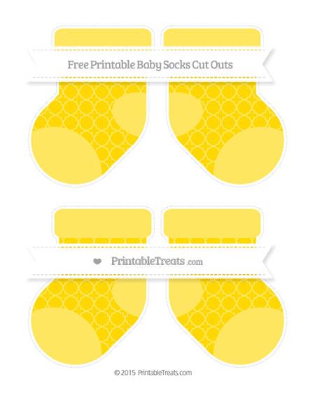 Free Goldenrod Quatrefoil Pattern Medium Baby Socks Cut Outs