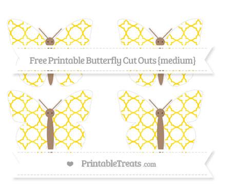 Free Goldenrod Quatrefoil Pattern Medium Butterfly Cut Outs