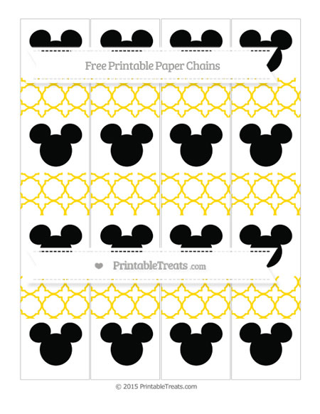 Free Goldenrod Quatrefoil Pattern Mickey Mouse Paper Chains