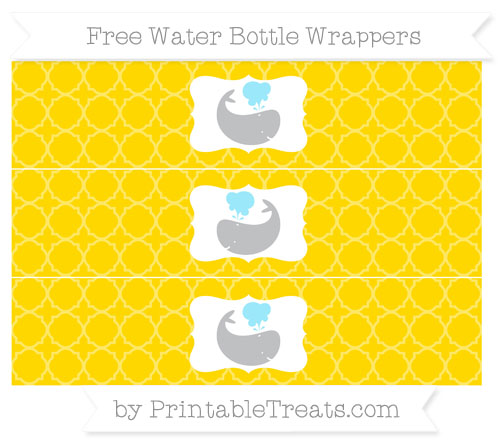 Free Goldenrod Quatrefoil Pattern Whale Water Bottle Wrappers