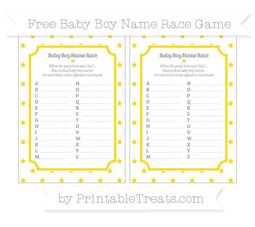 Free Goldenrod Star Pattern Baby Boy Name Race Game