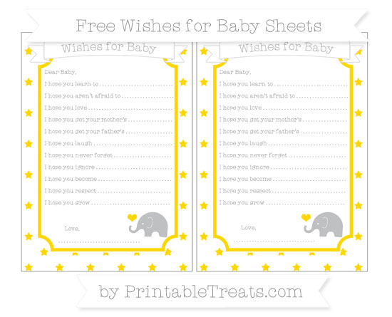 Free Goldenrod Star Pattern Baby Elephant Wishes for Baby Sheets