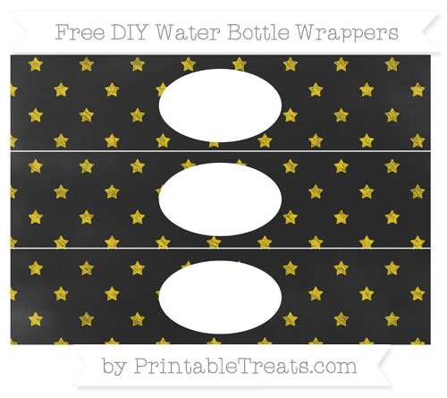 Free Goldenrod Star Pattern Chalk Style DIY Water Bottle Wrappers
