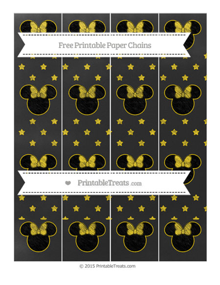 Free Goldenrod Star Pattern Chalk Style Minnie Mouse Paper Chains
