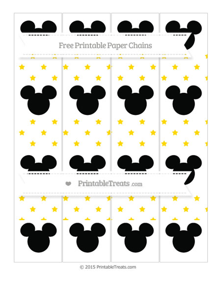 Free Goldenrod Star Pattern Mickey Mouse Paper Chains