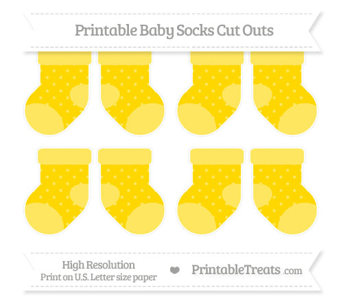 Free Goldenrod Star Pattern Small Baby Socks Cut Outs