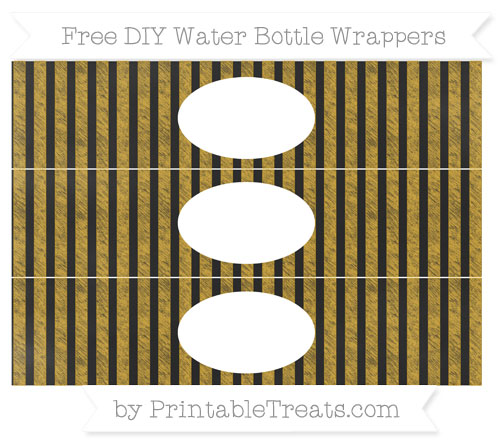 Free Goldenrod Striped Chalk Style DIY Water Bottle Wrappers