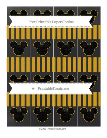 Free Goldenrod Striped Chalk Style Mickey Mouse Paper Chains