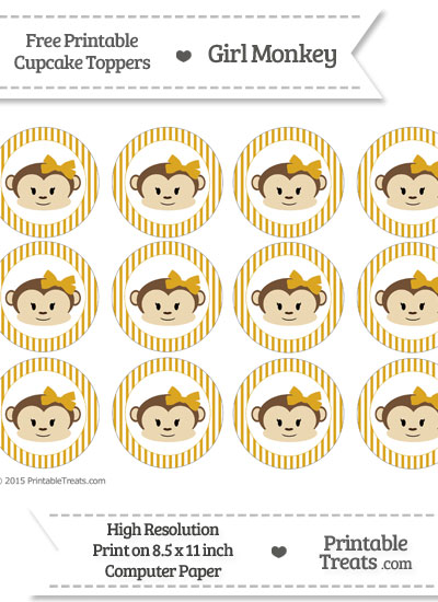 Free Goldenrod Striped Girl Monkey Cupcake Toppers