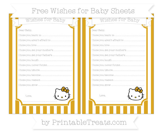 Free Goldenrod Striped Hello Kitty Wishes for Baby Sheets