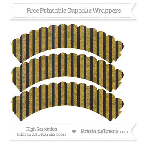 Free Goldenrod Striped Pattern Chalk Style Scalloped Cupcake Wrappers