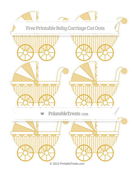 Free Goldenrod Striped Small Baby Carriage Cut Outs