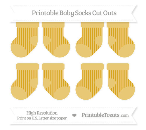 Free Goldenrod Striped Small Baby Socks Cut Outs