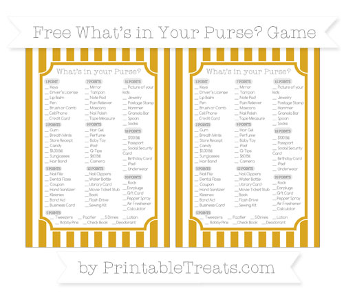 Free Goldenrod Striped What's in Your Purse Baby Shower Game