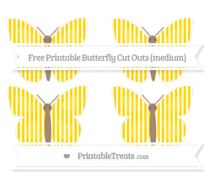 Free Goldenrod Thin Striped Pattern Medium Butterfly Cut Outs