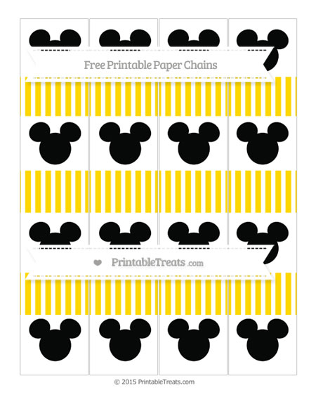 Free Goldenrod Thin Striped Pattern Mickey Mouse Paper Chains