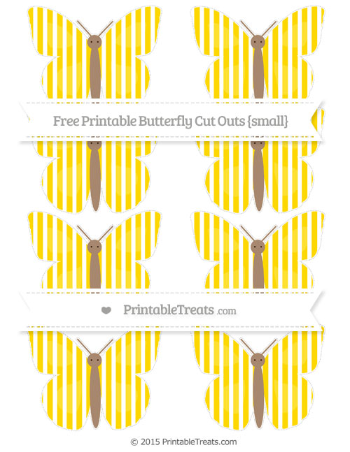 Free Goldenrod Thin Striped Pattern Small Butterfly Cut Outs