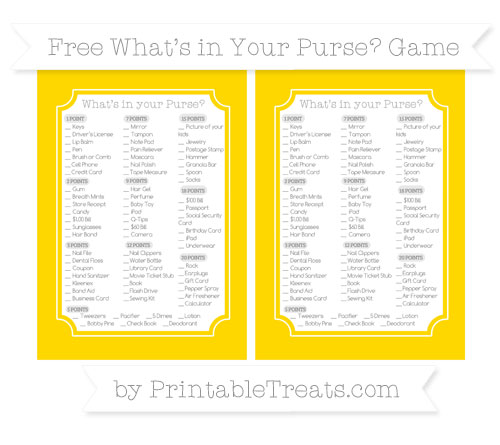 Free Goldenrod What's in Your Purse Baby Shower Game