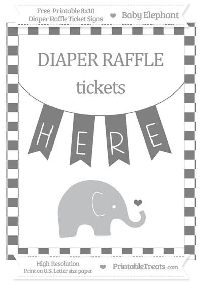 Free Grey Checker Pattern Baby Elephant 8x10 Diaper Raffle Ticket Sign