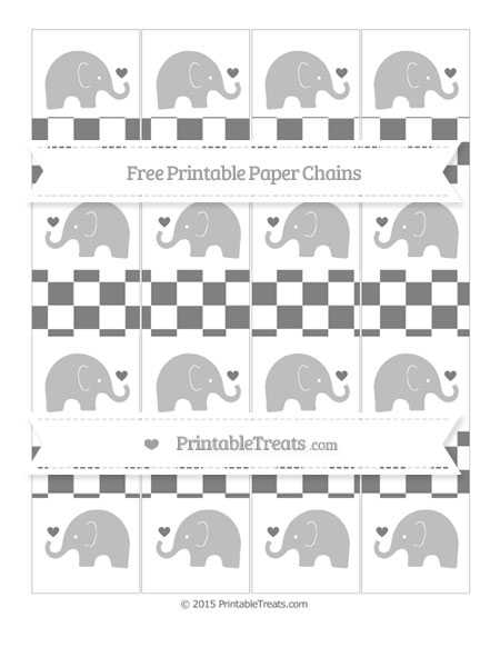 Free Grey Checker Pattern Baby Elephant Paper Chains