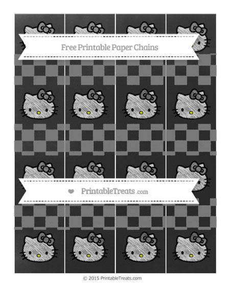 Free Grey Checker Pattern Chalk Style Hello Kitty Paper Chains