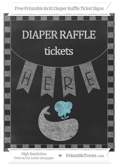 Free Grey Checker Pattern Chalk Style Whale 8x10 Diaper Raffle Ticket Sign