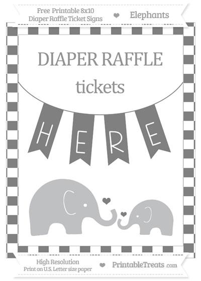 Free Grey Checker Pattern Elephant 8x10 Diaper Raffle Ticket Sign