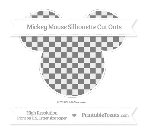 Free Grey Checker Pattern Extra Large Mickey Mouse Silhouette Cut Outs