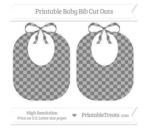 Free Grey Checker Pattern Large Baby Bib Cut Outs
