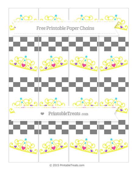 Free Grey Checker Pattern Princess Tiara Paper Chains
