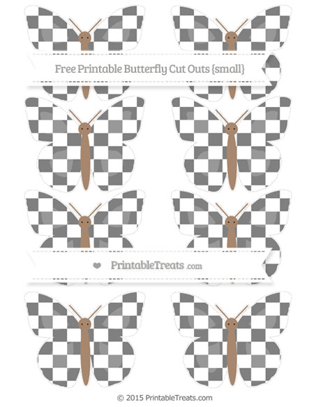 Free Grey Checker Pattern Small Butterfly Cut Outs