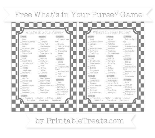 Free Grey Checker Pattern What's in Your Purse Baby Shower Game