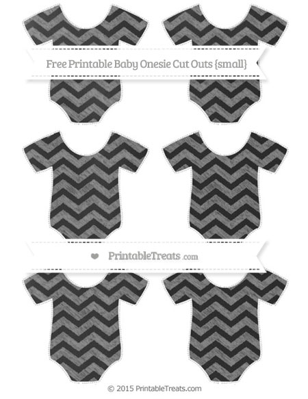 Free Grey Chevron Chalk Style Small Baby Onesie Cut Outs