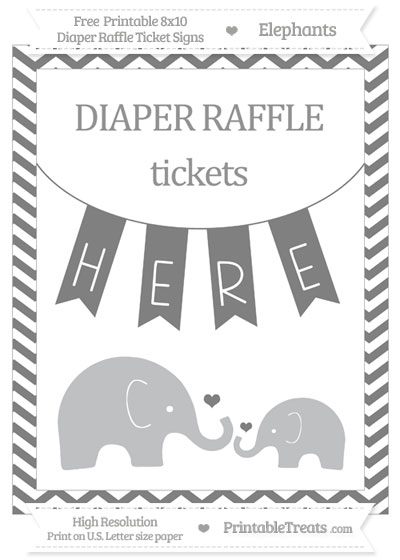 Free Grey Chevron Elephant 8x10 Diaper Raffle Ticket Sign
