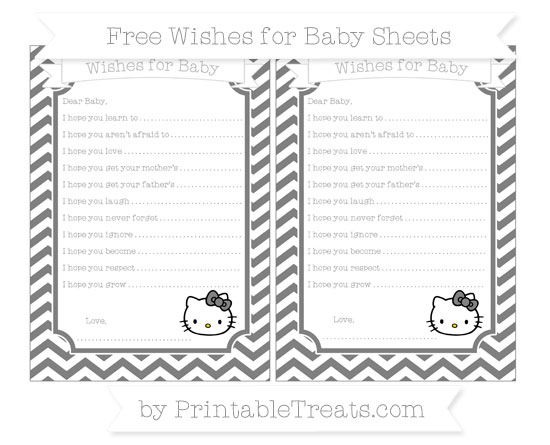 Free Grey Chevron Hello Kitty Wishes for Baby Sheets
