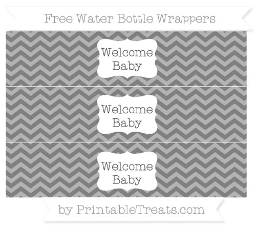 Free Grey Chevron Welcome Baby Water Bottle Wrappers