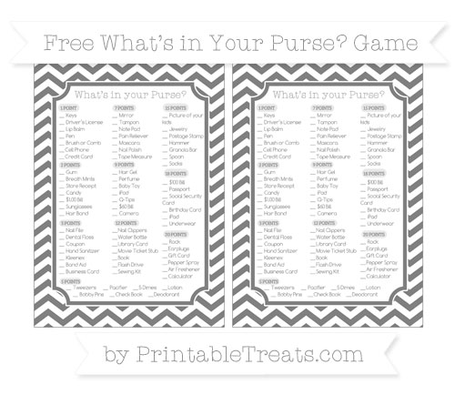 Free Grey Chevron What's in Your Purse Baby Shower Game