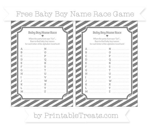 Free Grey Diagonal Striped Baby Boy Name Race Game