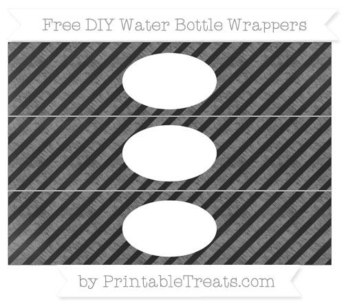 Free Grey Diagonal Striped Chalk Style DIY Water Bottle Wrappers